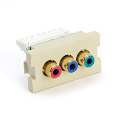 Leviton MOS 3 Port RCA Adapter with Red, Blue and Green Barrel