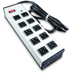 Compact Plug-In Outlet Center with Ten Outlets and Lighted Switch