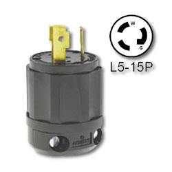 Leviton 15 Amp 125V Black Locking Plug - Industrial Grade (Grounding)