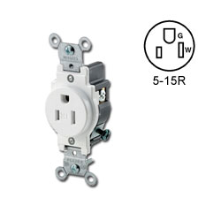 Leviton Narrow Body Single Receptacle 15 Amp, 125 Volt, NEMA 5-15R