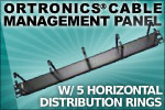 Ortronics Cable Management Panel, 5 Horizontal Distribution Rings