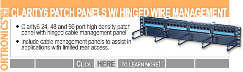 Ortronics Cat 6 Hinged Port Panel with Wire Management