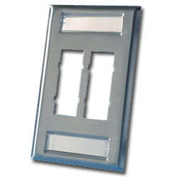Legrand - Ortronics TracJack� 4-Port Single Gang Stainless Steel Faceplate