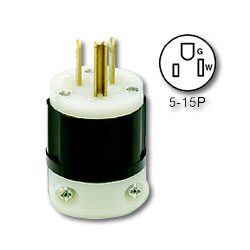Leviton Straight Blade Plug 15Amp 125V 2-Pole, 3-Wire Grounding
