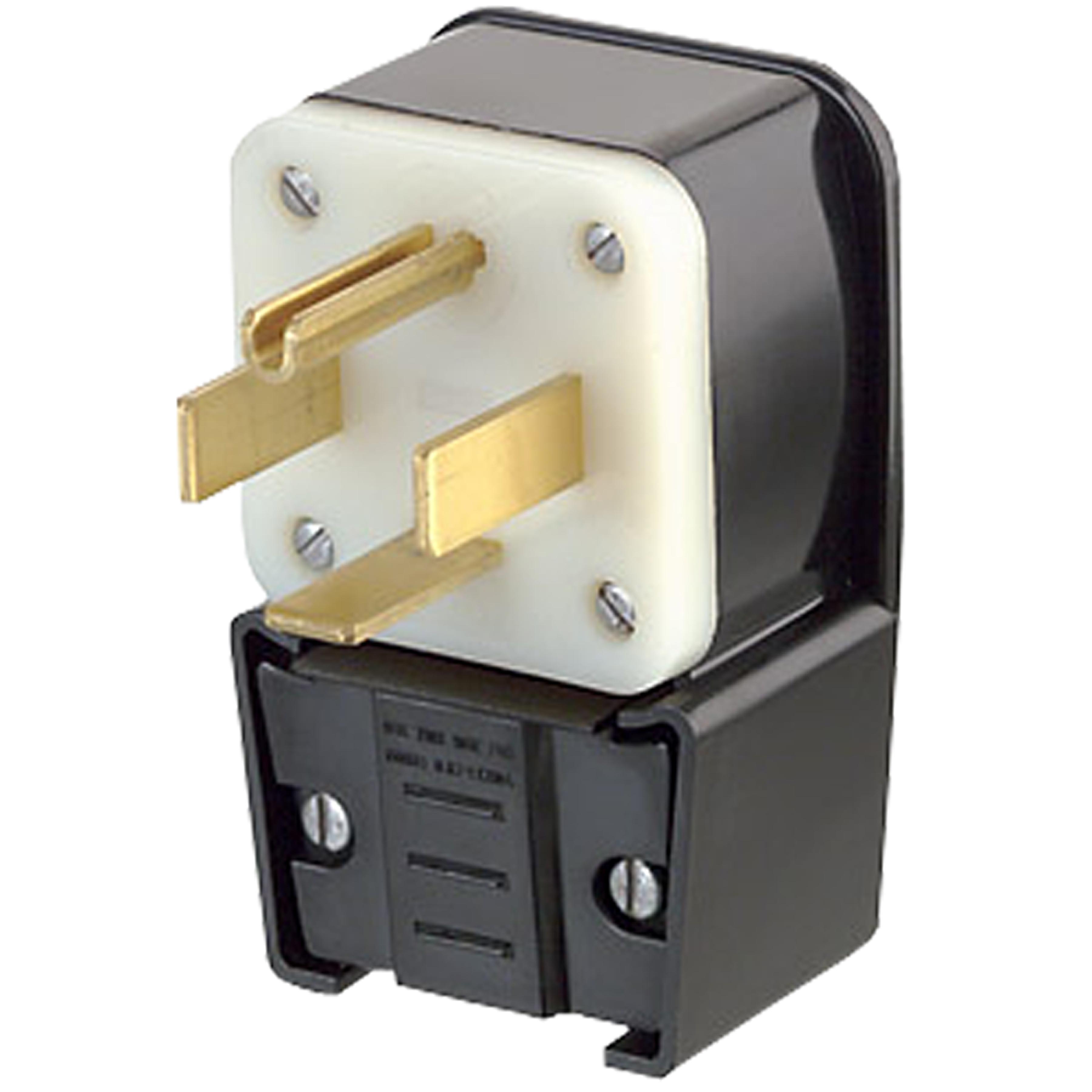 3-Pole 4-Wire Flush Mount Receptacle Matching Angle Plug