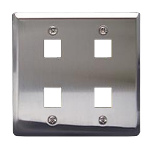 Flush Mount Double Gang Stainless Steel Faceplate-4 Port