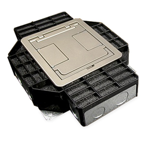 Legrand   Wiremold RFB4 Series Four Compartment Floor Box With Duplex  Receptacle Brackets