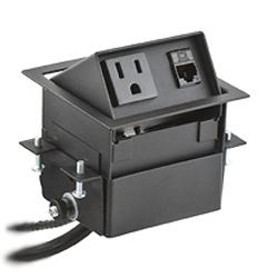 Square Mini Lift-Up Style 15 Amp Pre-Wired Connectivity Box, Black