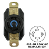 AC Receptacle NEMA L15-30 Female Black 250 Volt 30 Amp