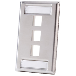Legrand - Ortronics 3 Port Single Gang Stainless Steel Faceplate