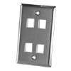 4 Port Single Gang Stainless Steel Faceplate