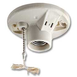 Leviton Medium Base One-Piece Glazed Porcelain Outlet Box Mount Incandescent Lampholder
