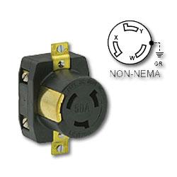 Leviton 50 Amp Black Flush Mount Locking Receptacle - Industrial Grade 250 Volt DC/600 Volt AC (Grounding)