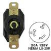 AC Receptacle NEMA L5-20R Female Black 125 Volt 20 Amp