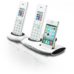 ClearSounds iCreation DECT 6.0 Bluetooth Phone with iPhone Dock with Two Handsets, White