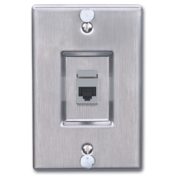 Siemon MAX Series Stainless Steel Wall Phone Faceplate with Keystone MAX Module