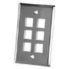 6 Port Single Gang Stainless Steel Faceplate
