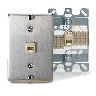 Leviton Stainless Steel Wall Phone Jack