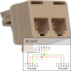 Suttle 6P4C and 6P2C Modular T Adapter