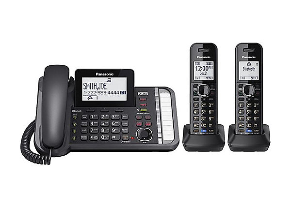 Panasonic 2 Line DECT 6.0 Expandable Digital Corded/Cordless Answering System with 2 Handsets