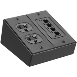 Hubbell Furniture Connectivity Box, Surface Mount, 2-Gang, Crinkle Black