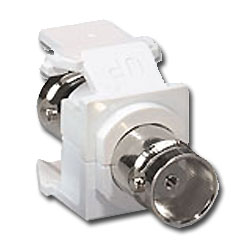 Leviton BNC QuickPort Snap-In Module - Nickel Plated 50 Ohm