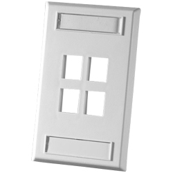 Legrand - Ortronics TechChoice 4 Port Single Gang Plastic Faceplate, Fog White