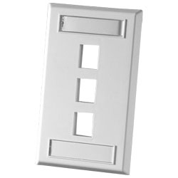 Legrand - Ortronics TechChoice 3 Port Single Gang Plastic Faceplate, Wiremold Ivory