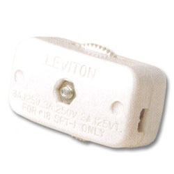 Leviton 3Amp 250V Miniature Feed-Through Cord Switch