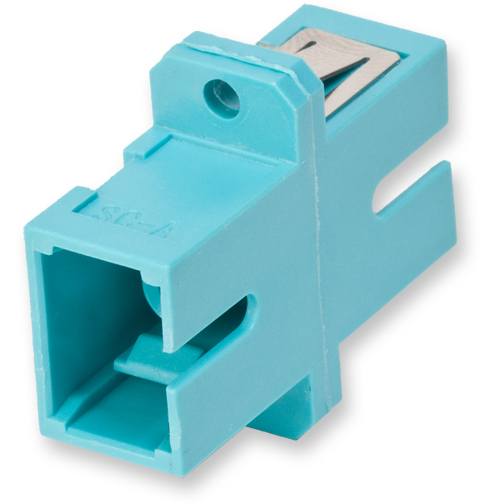 Fiber Optic Full-Flange Ceramic Sleeve SC Simplex Adapter, Aqua (Package of 50)