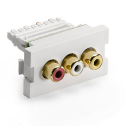 Leviton MOS 3-Port RCA Adapter with Yellow, White and Red Barrel