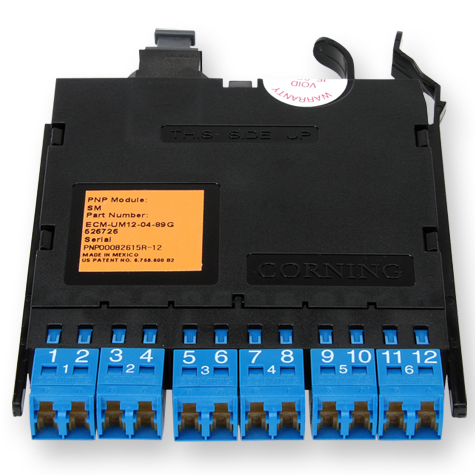 12 Fiber Pretium EDGE® Bend-Improved Single-Mode LC Duplex to MTP® Module Connector, Blue