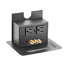 Hubbell Square Lift-Up Style 15 Amp Pre-Wired Connectivity Box, Black