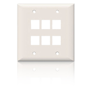 SpeedStar 6 Port Double Gang Smooth Faceplate White
