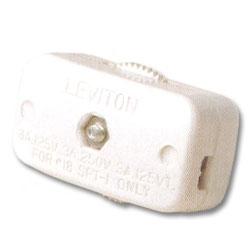 Leviton 3Amp 250V Miniature Feed-Through Cord Switch