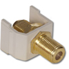 Snap Fit Connector, F-Type Coupler Gold Bulkhead F/F