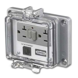 Hubbell Panel-Safe 20A 125V, GFCI with In-Cabinet Receptacle and Cat 5e Ethernet Access