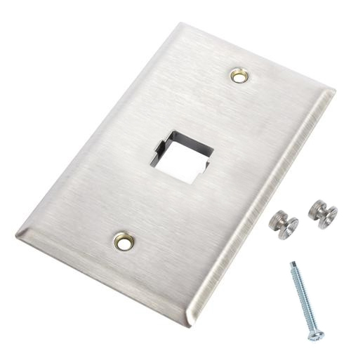 Flush-Mounted US Standard Stainless Steel Faceplate - 1 Port Wall Phone Plate