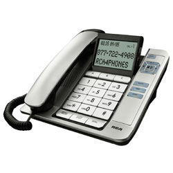 RCA - Thomson, Inc. Corded Desk Phone with Large Keypad Buttons and Tilt Screen