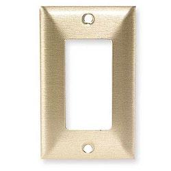 Hubbell Styleline/Rectangular Standard Size 1-Gang Metallic Brass Wallplate