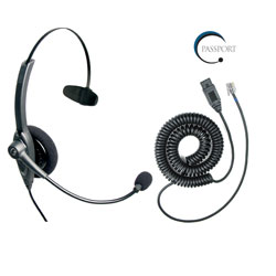 VXI Passport 10G Monaural Noise-Canceling Headset with QD1029G Headset Cable Bundle