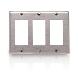 Leviton Oversized 302 Stainless Steel Wallplate 3-Gang 3-Decora