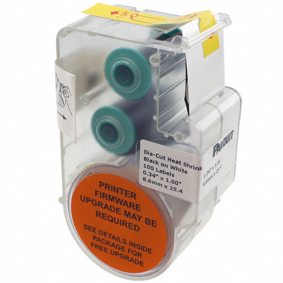 Panther, P1™ Continuous Heat Shrink Label Cassettes for Hand-Held Thermal Transfer Printers, 16-10 AWG, White