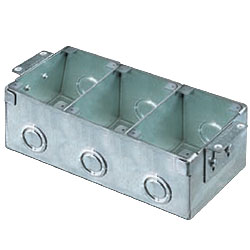 Hubbell 3-Gang Rectangular Stamped Steel Flush Floor Box for Wooden Floors