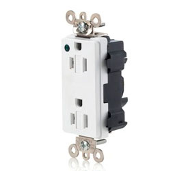 Leviton Lev-Lok Decora Plus 15 Amp Extra Heavy Duty Hospital Grade Receptacle with Power Indication