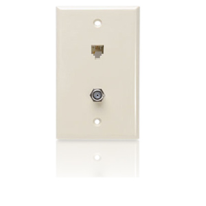 Leviton Combination Wall Jack - 6P4C/F-Connector