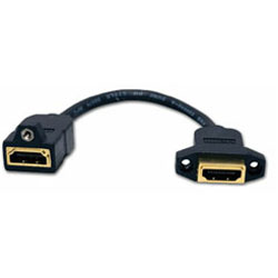 Hubbell AV Connector, HDMI 3 Inch Tail, Female/Female, Gold Coupler