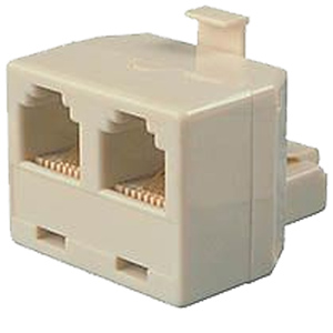 Ivory Allen Tel Products AT444 6 Position 4 Conductor Modular Duplex Surface Jack