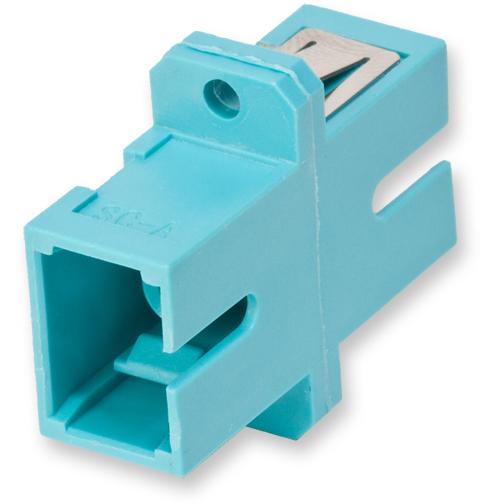 Fiber Optic Full-Flange Ceramic Sleeve SC Simplex Adapter, Aqua (Package of 50)