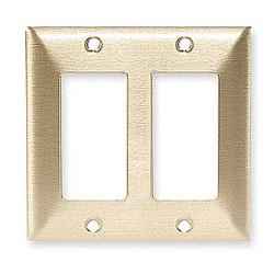 Hubbell Styleline/Rectangular Standard Size 2-Gang Metallic Brass Wallplate
